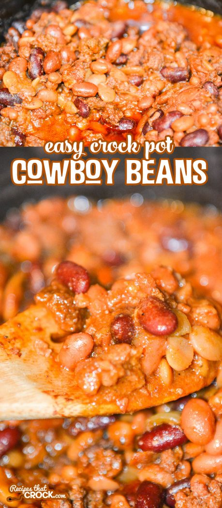 These Easy Crock Pot Cowboy Beans are fantastic as a flavorful side dish and perfect as a hearty bowl all on their own.