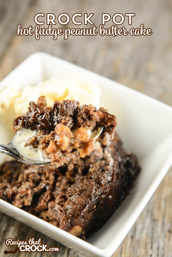 Crock Pot Hot Fudge Peanut Butter Cake is the perfect chocolate and peanut butter dessert. The result is much like a chocolate lava cake with an added layer of peanut butter chips to make it even more decadent.