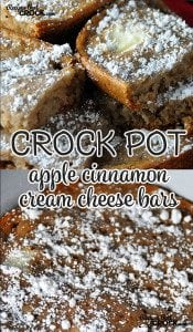 These Crock Pot Apple Cinnamon Cream Cheese Bars are super easy and deeelicious!