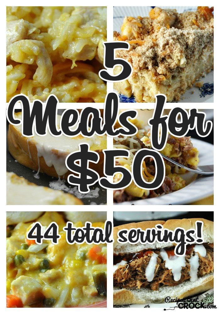 5 Meals for $50 with a total of 44 servings!