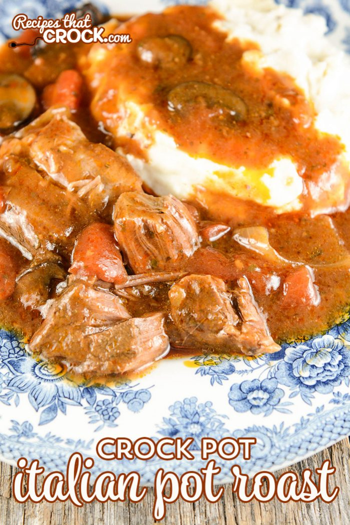 This Crock Pot Italian Pot Roast is a fantastic all day slow cooker recipe. It is simple to throw together in the morning and results in a tender fall apart roast with an incredible flavor!