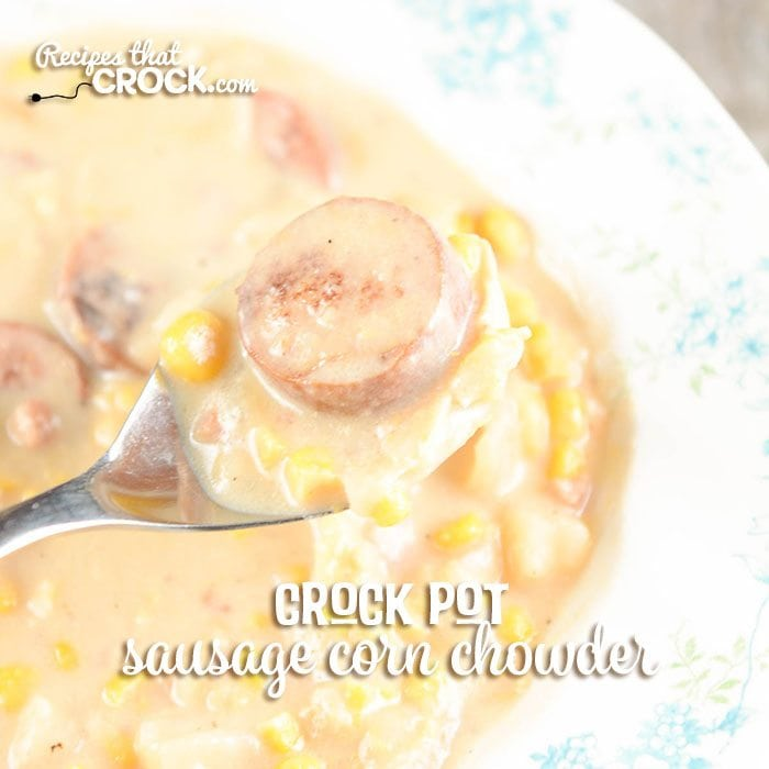This Crock Pot Sausage Potato Corn Chowder Recipe takes flavor to the next level with the addition of thick slices of delicious polish sausage or kielbasa to a traditional potato corn chowder.