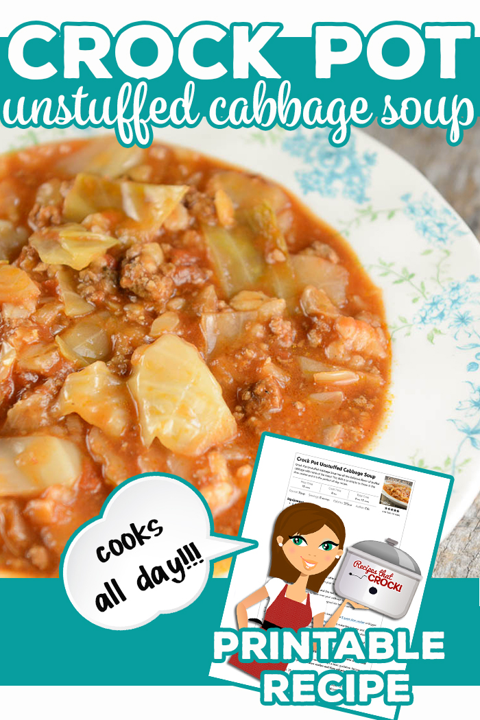 Crock Pot Unstuffed Cabbage Soup has all the delicious flavor of stuffed cabbage with none of the mess! This dish is so simple to throw in the slow cooker and it is the perfect all day recipe. Beef, sausage, broth, cabbage, onions, tomatoes and barley create this savory soup that everyone loves! via @recipescrock