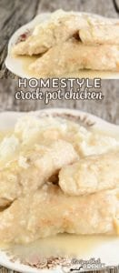 This delicious Homestyle Crock Pot Chicken is fork tender and flavorful. You won't believe how easy it is to put together!