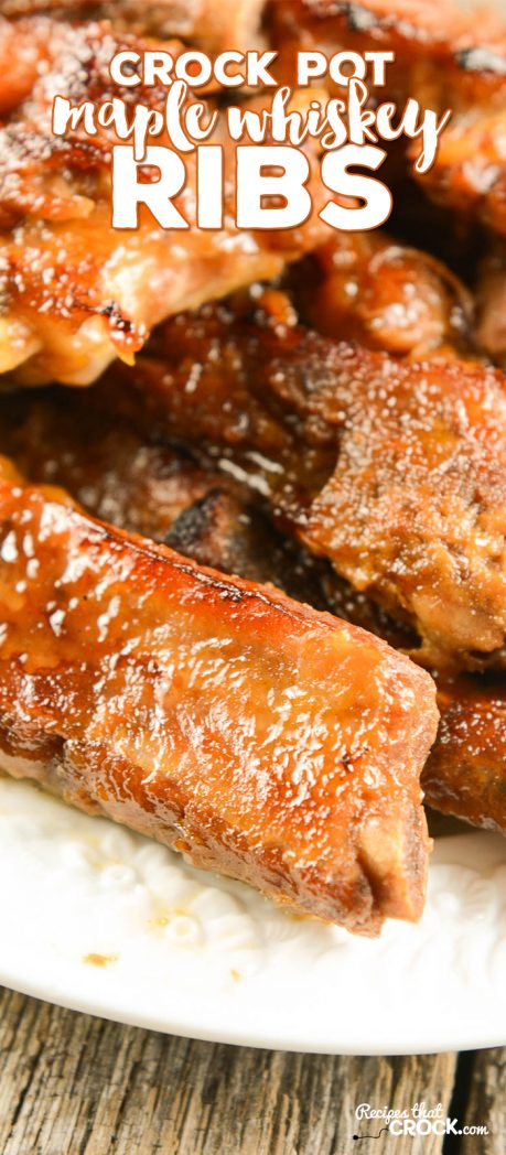 Easy Crock Pot Ribs {Maple Whiskey}: These Maple Whiskey Crock Pot Ribs are so flavorful and tender! Whether you are preparing them for family dinner or a backyard BBQ, you won't believe how easy it is to create better-than-restaurant quality in your crock pot! Psst... don't skip the optional homemade sauce -- it is to die for on these slow cooker ribs! Don't have whiskey on hand? We give you an apple juice option as well.