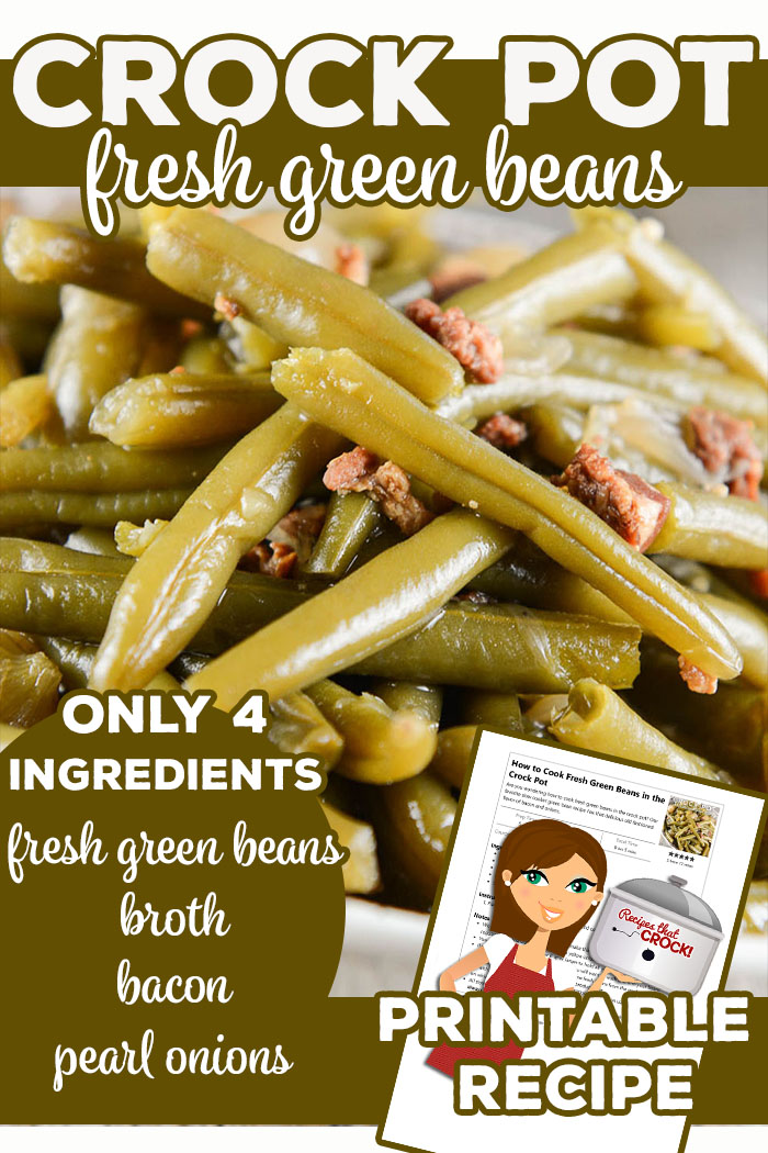 Crock Pot Old Fashioned Green Beans: Are you wondering how to cook fresh green beans in the crock pot? Our favorite slow cooker green bean recipe has that delicious old fashioned flavor of bacon and onions. via @recipescrock
