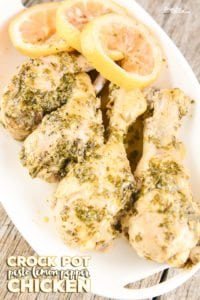 Crock Pot Pesto Lemon Pepper Chicken Legs: This slow cooker chicken legs recipe is so simple but flavorful and delicious. The lemon pepper subtly compliments the pesto flavor on the chicken drumsticks without overpowering it. This dish is in the crock pot in less than 5 minutes and is a perfect quick and easy recipe for weeknight family meals.