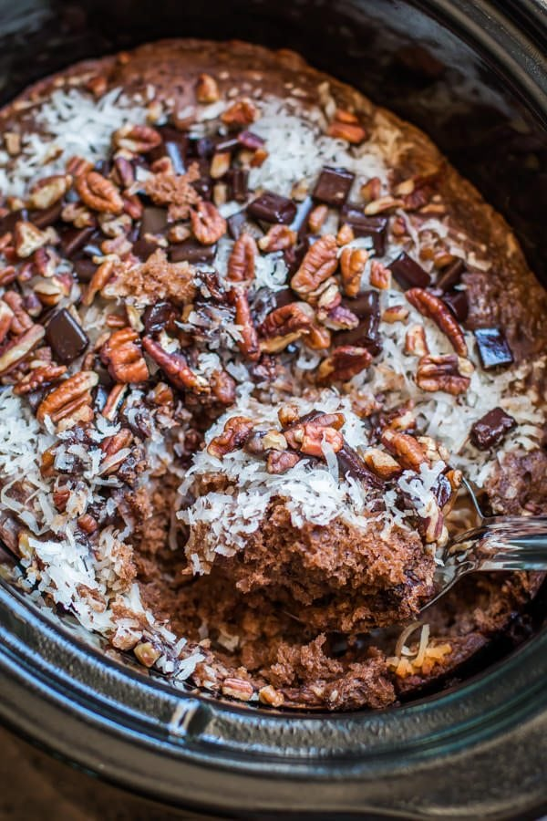Slow Cooker German Chocolate Spoon Cake