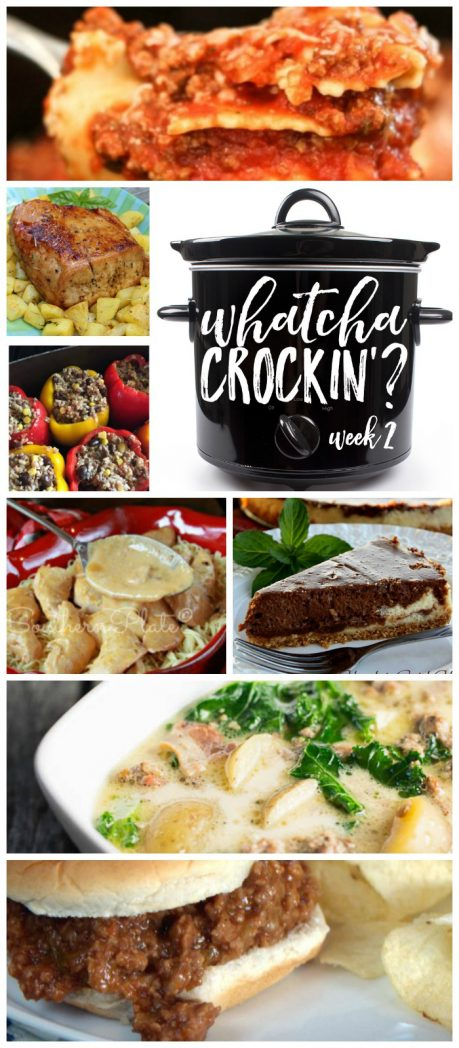 Crock Pot Recipes from Whatcha Crockin' Wednesday Week 2 include Slow Cooker Angel Chicken, Crock Pot Sloppy Joes, Crock Pot Zuppa Toscana Soup, Crock Pot Ravioli, Crock Pot Chocolate Swirl Cheesecake, Crock Pot Beef Stuffed Peppers and Bourbon Brown Sugar Pork Loin