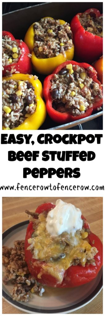 Easy Crock Pot Beef Stuffed Peppers