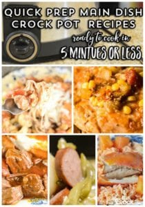 These easy crock pot recipes can be prepared in 5 minutes or less! Italian Beef Roast, Fiesta Pork Chops, One Pot Sausage Dinner, Catalina Chicken and Italian Chicken are all a snap to throw together. These recipes make busy back to school days so much easier and are a great way to use up your pantry canned food staples. #Ad #CansGetYouCooking