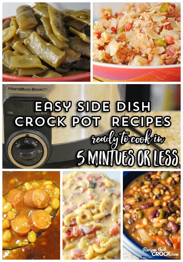 These easy crock pot recipes can be prepared in 5 minutes or less! Party Beans, Spanish Rice, Fiesta Mac and Cheese, Crock Pot Green Beans, Slow Cooker Beans and Weenies are all a snap to throw together.These recipes make busy back to school days so much easier and are a great way to use up your pantry canned food staples. #Ad #CansGetYouCooking
