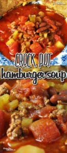 This Crock Pot Hamburger Soup has it all! Super easy, great flavor, meat, veggies and goes great with a grilled cheese!