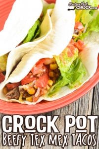This Crock Pot Beefy Tex Mex Tacos recipe one of our favorite ground beef slow cooker recipes. It is a delicious way to dress up a pound of ground beef.