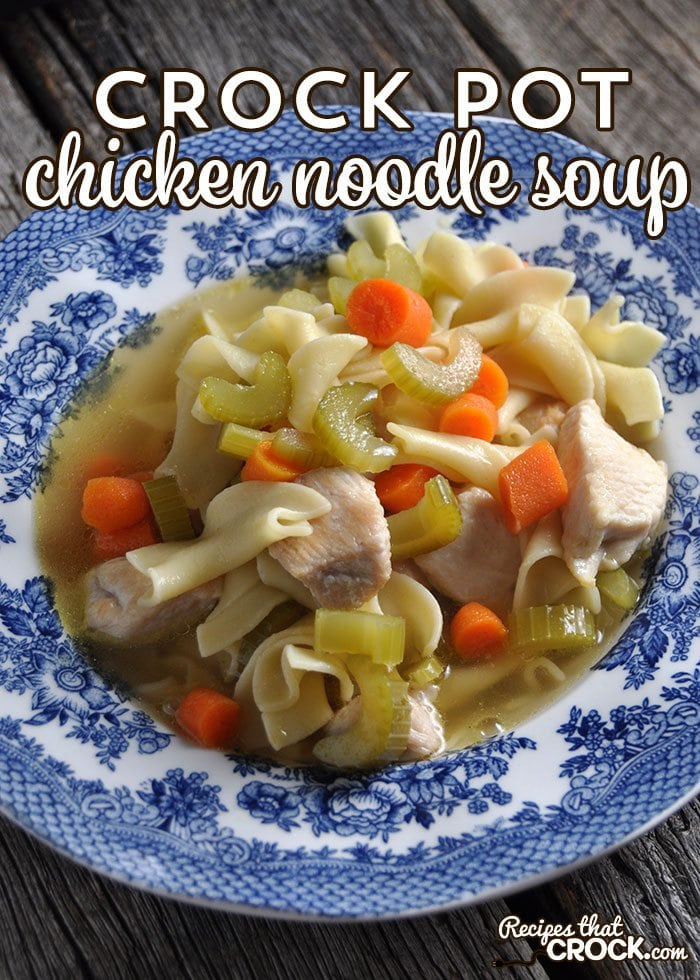 This Crock Pot Chicken Noodle Soup is super easy and deeelicious!