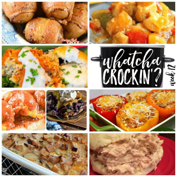 This week's Whatcha Crockin' crock pot recipes include 15 Kid-Friendly Recipes, Crock Pot Fiesta Crack Chicken, Crock Pot Bacon Taters, Slow Cooker Sweet and Sour Chicken, Slow Cooker Country Breakfast with White Pepper Gravy and Biscuits, Crock Pot Scalloped Potatoes with Ham, Slow Cooker Sausage Stuffed Peppers and much more!