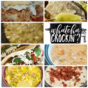 This week's Whatcha Crockin' crock pot recipes include Crock Pot Bread Dressing, Crock Pot Mississippi Pork Chops, Creamy Hot Bacon Corn Dip, Crock Pot Cheesy Ham Potato Soup, Crock Pot Pulled Pork, Slow Cooked Pulled Pork Carnitas, Crock Pot Creamy Chicken and Wild Rice Soup and much more!