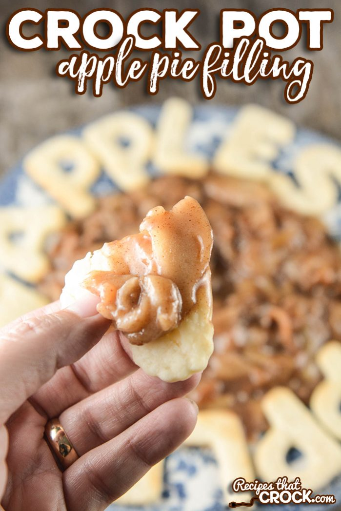 Make your own homemade apple pie filling with this easy crock pot recipe. We like to serve it up in pies, over biscuits, ice cream or with pie crust cookies! Perfect fresh apple recipe.