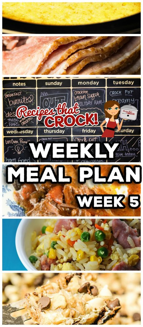 This week's Weekly Meal Plan includes Crock Pot Brown Sugar Holiday Ham, Crock Pot Corn Casserole, Crock Pot Creamy Chicken and Veggies, Ham Fried Rice, Easy Crock Pot Maple Whiskey Ribs, Crock Pot Old Fashioned Cabbage, Crock Pot Italian Pot Roast, Crock Pot Garlic Ranch Mashed Potatoes, Freezer Breakfast Burritos, and Crock Pot Magic Bars!