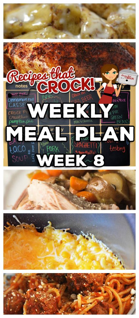 This week's Weekly Meal Plan includes Crock Pot Cinnamon Roll Casserole, Crock Pot Crustless Pumpkin Pie, Crock Pot BBQ Beer Chicken, Extra Cheesy Crock Pot Mac 'n Cheese, Slow Cooker Creamy Chicken and Rice, Crock Pot Green Beans, Easy Crock Pot Taco Soup, Slow Cooker Pork Roast and Veggies and Crock Pot Spaghetti and Meatballs!