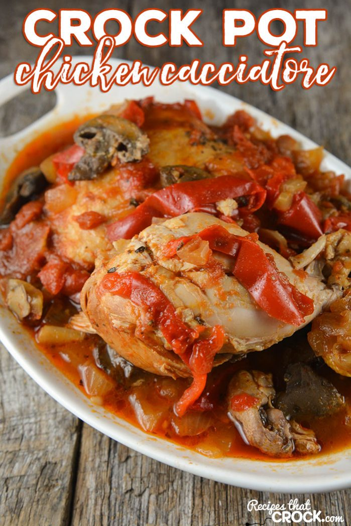 Crock Pot Chicken Cacciatore Recipe: This Crock Pot Chicken Cacciatore is the perfect slow cooker recipe for two or can be doubled to feed a larger family. This is a classic dish that everyone loves-delicious chicken with bell peppers, tomatoes and mushrooms.