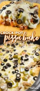 Crock Pot Pizza Bake: Do you love deep dish pizza? Our Crock Pot Pizza Bake has a fantastic flavorful crust with deep dish toppings all made in your slow cooker.
