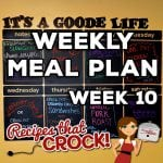This week's Weekly Meal Plan includes Crock Pot Cheese Souffle, Crock Pot Peaches 'n Cream Dump Cake, Crock Pot Steak with Gravy, Crock Pot No Boil Mashed Potatoes, One Pot Chicken Casserole, Crock Pot Dinner Rolls, Crock Pot Chicken Noodle Soup, Crock Pot Creamed Chicken Sandwiches, Crock Pot Roasted Potatoes, Garlic Pork Roast and Crock Pot Parmesan Corn!