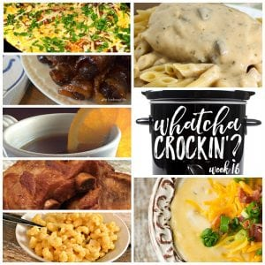 This week's Whatcha Crockin' crock pot recipes include Slow Cooked Fiesta Chicken and Rice, Sweet and Spicy Bacon Wrapped Smokies, Crock Pot Potato Soup and much more!