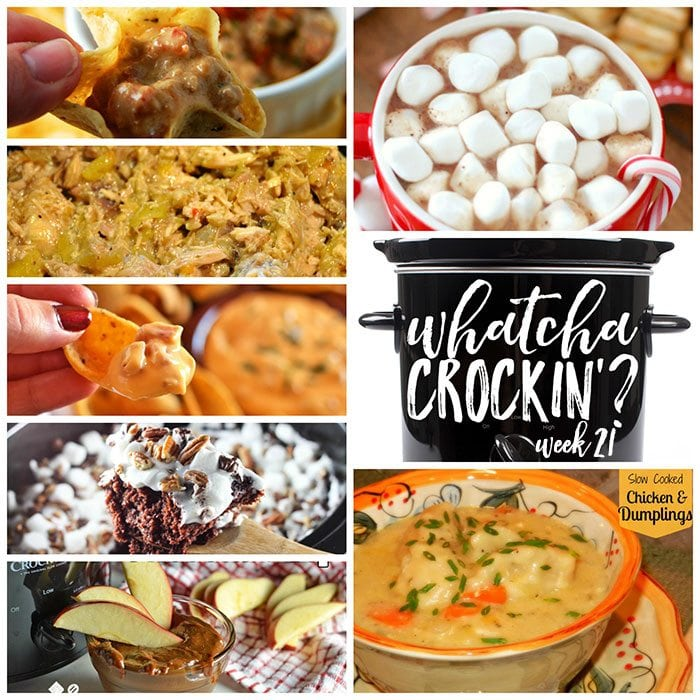 This week's Whatcha Crockin' crock pot recipes include Slow Cooked Chicken and Dumplings, Bacon Cheeseburger Crock Pot Dip, Rocky Road Chocolate Spoon Cake, Crock Pot Creamy Hot Chocolate, Slow Cooker Dulce de Leche Chocolate Dip, Slow Cooker Hot Ham and Cheese Dip, Crock Pot Italian Chicken and much more!