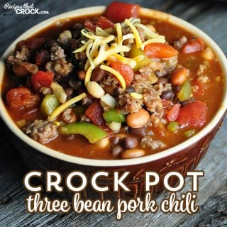Do you want a delicious chili that is super easy to throw together? Then you don't want to miss this Crock Pot Three Bean Pork Chili!