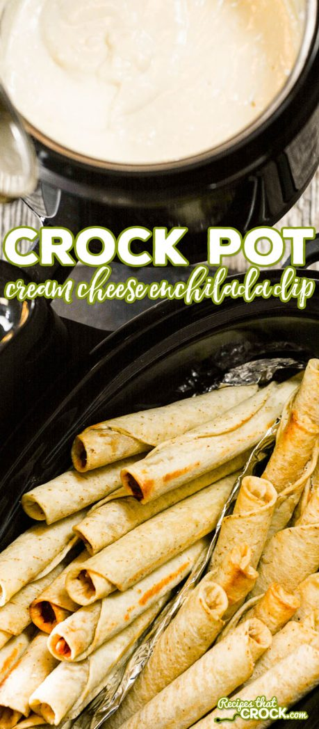 Crock Pot Cream Cheese Enchilada Dip is a super simple dipping sauce that goes perfect with @joseolecentral Chicken and Cheese Taquitos. #Ad #JustSayOle