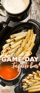Do you love serving Taquitos at your potluck, party or tailgate? Our Game Day Taquito Bar keeps your favorite game day snack nice and toasty while serving it up with our Crock Pot Pizzeria Dip and Crock Pot Cream Cheese Enchilada Dip. We like to serve them with @joseolecentral Chicken Cheese Taquitos and Beef Cheese Taquitos. #JustSayOle #ad