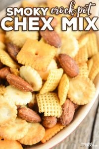 Are you looking for a great party snack mix to serve up to friends and family? Our Smoky Crock Pot Chex Mix has a savory smoky flavor throughout all your salty snack mix favorites.