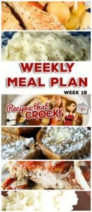 This week's weekly menu features Crock Pot All Day Chicken Dinner, Crock Pot Cubed Steak with Gravy, Crock Pot No Boil Mashed Potatoes, Crock Pot Chili Vegetable Ranch Hand Soup, Easy Crock Pot Italian Chops, Parmesan Rice, Crock Pot Mississippi Whole Chicken, Crock Pot Cheesy Rotini, Crock Pot Apple Cinnamon Cream Cheese Squares and Crock Pot Rumchata Caramel Dip.