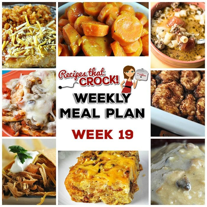 This week's weekly menu features Crock Pot BBQ Chicken Wraps, Crock Pot Cheesy Taco Pork Chops, Crock Pot Pasta Fagioli, Crock Pot Creamy Dijon Mushroom Pork, Crock Pot Sweet Tangy Carrots, Crock Pot Pizza Casserole, Crock Pot Cheesy Bacon Casserole, Crock Pot Apple Dumplings and Crock Pot Cheesy Party Mix.