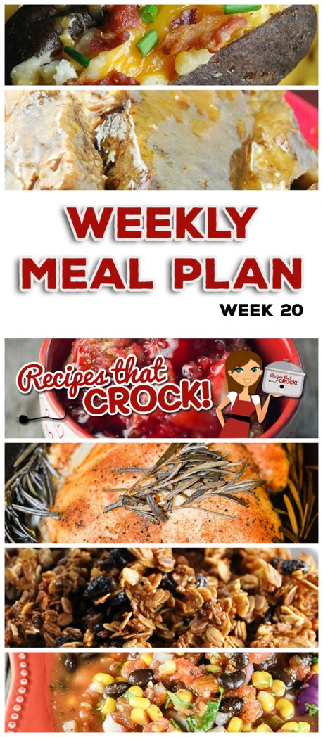 This week's weekly menu features Easy Honey Granola, Crock Pot Ham and Cheddar Quiche, Crock Pot Easy Special Pot Roast, Crock Pot Cheesy Scalloped Potatoes, Crock Pot Lemon Pepper Pork Chops, Crock Pot Cheeseburger Soup, Crock Pot Whole Chicken, Crock Pot Twice Baked Potatoes, Crock Pot Taco Joes, Homemade Salsa and Crock Pot Cherry Pineapple Dump Cake.