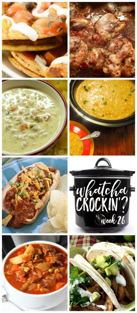 This week's Whatcha Crockin' crock pot recipes include Crock Pot Honey Garlic Chicken Thighs, Crock Pot Game Day Taco Nachos, Vegetable Beef Soup, Crock Pot Sausage Queso Dip, Crock Pot Chili Cheese Dogs, Crock Pot Pork Carnitas, Slow Cooker Green Chili, Chicken and Rice Soup and much more!
