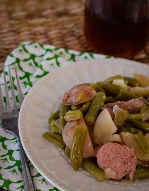 Slow Cooker Sausage, Green Beans and Potatoes