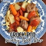 This Crock Pot Savory Beef Stew is an instant family favorite! From the kids to the adults, everyone loves it!