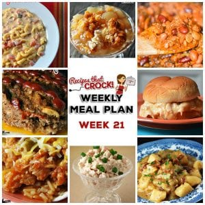 This week's weekly menu features Crock Pot Fiesta Shredded Pork Wraps, Crock Pot Fiesta Mac and Cheese, Crock Pot Old Fashioned Meatloaf, Crock Pot German Potato Salad, Crock Pot Hot Turkey Sandwiches, Caprese Pesto Pasta Salad, Crock Pot Buffalo Chicken Wings, French fries, Easy Crock Pot Cowboy Beans, Crock Pot Salted Caramel Apple Dip, Crock Pot Hot Crab Dip and Crock Pot Caramel Pecan Rolls.