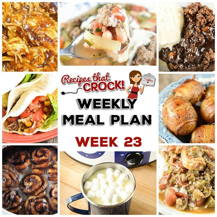 This week's weekly menu features Crock Pot Cinnamon Roll Mixed Berry Casserole, Crock Pot Hot Fudge Peanut Butter Cake, Crock Pot Hot White Chocolate, Crock Pot Creole Pork Chops, Crock Pot Bacon Taters, Crock Pot Beefy Tex Mex Tacos, Crock Pot Tuscan Bean Soup, Crock Pot Quick & Easy BBQ Chicken and Crock Pot Seafood Gumbo.
