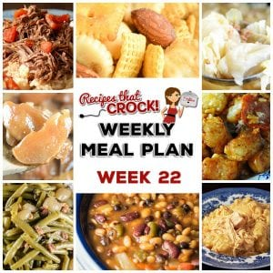 This week's weekly menu features Crock Pot Chicken and Dumplings, Crock Pot Party Beans, Crock Pot Scalloped Potatoes and Ham, Crock Pot Cabbage, Crock Pot Swiss Steak and Rice, Old Fashioned Crock Pot Green Beans, Crock Pot Garlic Pork Roast, Crock Pot Creamed Spinach, Crock Pot Cinnamon Apples, Crock Pot Pizza Tater Tot Casserole, Strawberry Breakfast Cake, Crock Pot Rocky Road Candy and Smoky Crock Pot Chex Mix.