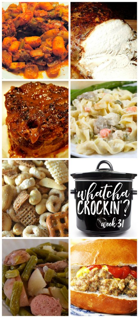 This week's Whatcha Crockin' crock pot recipes include Applewood Cider Slow Cooker Chicken, Crock Pot Cheeseburger Sandwiches, Crock Pot 3 Cheesy Chicken and Noodles, Slow Cooker French Onion Swiss Steak, Slow Cooker Italian Pot Roast, Crock Pot Sausage, Green Beans and Potatoes, Slow Cooker Salty Party Mix and much more!