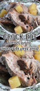 This Crock Pot Brown Sugar Pineapple Pork Roast is so simple it can be thrown together in less than two minutes. After your crock pot does all the work, you have a tender, juicy roast with a wonderful au jus for everyone to enjoy!