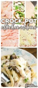 This Crock Pot Chicken Milano Recipe (Johnny Carino's Copycat) is a creamy, savory chicken and ham slow cooker recipe served over a bed of fettuccine. We love the flavor the basil and cremini mushrooms add to this comfort food dish.