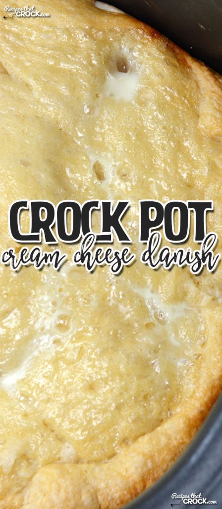 Do you love cream cheese danish as much as I do?! You can have one that tastes like it is straight from the bakery with this Crock Pot Cream Cheese Danish recipe! Yum!