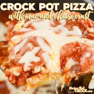 This Crock Pot Pizza with Mac and Cheese Crust is a fun way to switch up pizza night with flavors that kids of all ages love! All your favorite pizza toppings pile on top of a crust made out of mac and cheese.