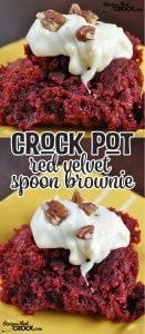 """Are you ready?! These Crock Pot Red Velvet Spoon Brownies are gonna knock your socks off! One bite will leave you saying, """"Wow!"""""""