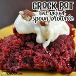 "Are you ready?! These Crock Pot Red Velvet Spoon Brownies are gonna knock your socks off! One bite will leave you saying, ""Wow!"""