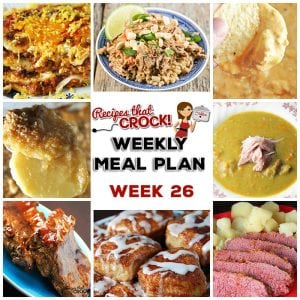 This week's weekly menu features Crock Pot Cream Cheese Taco Dip, Crock Pot Cinnamon Rolls, Crock Pot Taco Lasagna, Crock Pot Thai Pork with Peanut Sauce, Crock Pot Split Pea Soup, Crock Pot Barbecue Ribs, Crock Pot Cheesy Scalloped Potatoes, Easy Crock Pot Corned Beef, Crock Pot Old Fashioned Cabbage and Monster Munch.